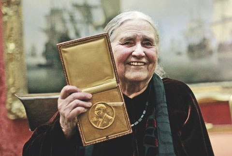Doris Lessing with 2007 Nobel Prize in Literature